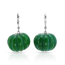 Round Cut Jade Drop Earring