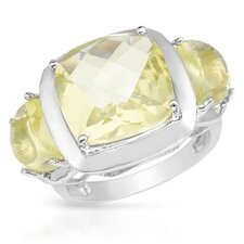 925 Sterling Silver Checkerboard Cut Quartz Ring