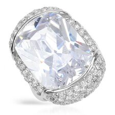 <strong>Vivid Gemz</strong> Sterling Silver Cushion Cubic Zirconia Ring