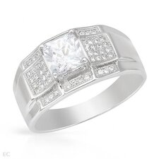 <strong>Vivid Gemz</strong> 925 Sterling Silver Square Cut Cubic Zirconium Ring