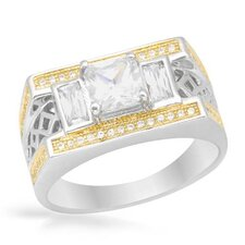 18k/925 Gold Plated Silver Cushion Cut Cubic Zirconium Ring