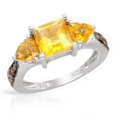 925 Sterling Silver Square Cut Citrine Ring