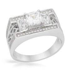 Platinum Coated Sterling Silver Cushion Cut Cubic Zirconium Ring