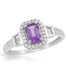 <strong>Vivid Gemz</strong> 925 Sterling Silver Octagon Cut Ring