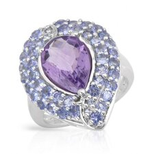 925 Sterling Silver Checkerboard Cut Amethyst Ring