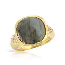<strong>Vivid Gemz</strong> Sigal 925 Sterling Silver Checkerboard Labradorite Ring