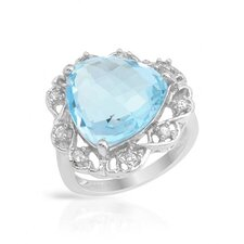 925 Sterling Silver Checkerboard Cut Topaz Ring
