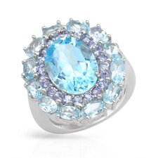 925 Sterling Silver Oval Cut Topaz Ring