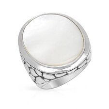 925 Sterling Silver Inlay Cut Mother Of Pearl Ring