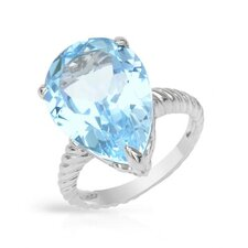 <strong>Vivid Gemz</strong> 925 Sterling Silver Pear Cut Topaz Ring