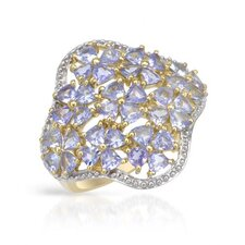14k/925 Gold Plated Silver Trillion Cut Tanzanite Ring