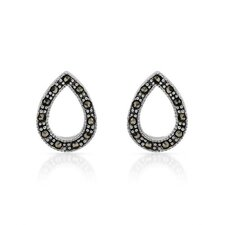<strong>Vivid Gemz</strong> 925 Sterling Silver Fancy Cut Marcasite Stud Earrings