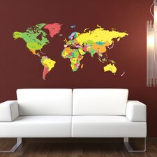 Labelled World Map Wall Sticker