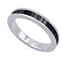 Sterling Silver Baguette Diamond Anniversary Band