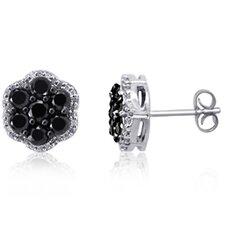 Flower Round Cut Diamond Stud Earrings