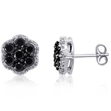 Flower Round Cut Diamond Stud Earrings
