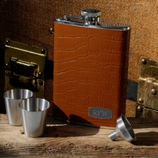 Personalized Gift Tycoon Leather Flask Set