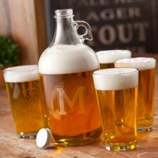 <strong>JDS Personalized Gifts</strong> Personalized Gift 5 Piece Engraved Growler and Blank Pint Glasses Set