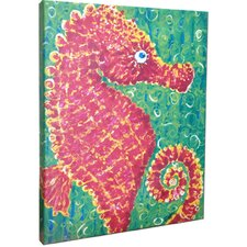 Seahorse Mounted by Giclee Gerri Hyman Painting Print on Canvas