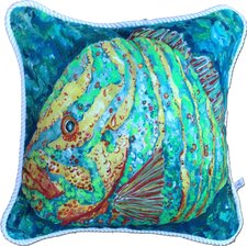Striped Grouper Cotton Pillow