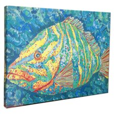 Striped Grouper Mounted by Giclee Gerri Hyman Painting Print on Canvas