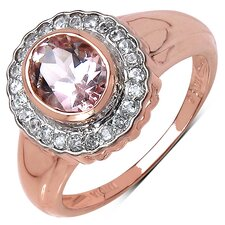 10K Rose Gold Oval Cut Morganite Halo Ring