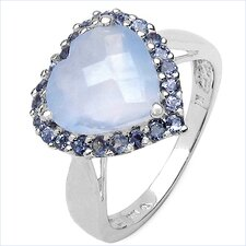 925 Sterling Silver Heart Cut Chalcedony Halo Ring