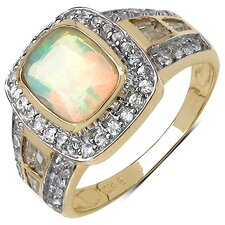 10K Yellow Gold Asscher Cut Ethiopian Opal Ring