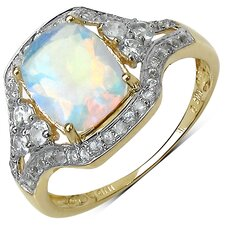 10K Yellow Gold Asscher Cut Ethiopian Opal Halo Ring