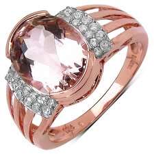 10K Rose Gold Oval Cut Morganite Ring