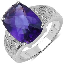 <strong>JewelzDirect</strong> 925 Sterling Silver Cushion Cut Amethyst Ring