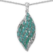 925 Sterling Silver Oval Cut Emerald Pendant