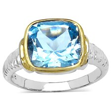 <strong>JewelzDirect</strong> 925 Sterling Silver Cushion Cut Topaz Ring