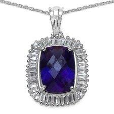 925 Sterling Silver Emerald Cut Amethyst Pendant