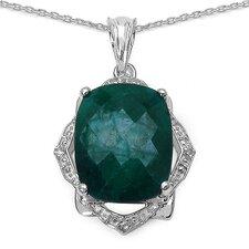 925 Sterling Silver Emerald Cut Emerald Pendant