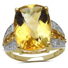 Gold Plated Emerald Cut Citrine Ring
