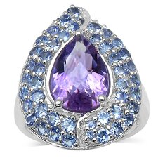 925 Sterling Silver Pear Cut Amethyst Ring