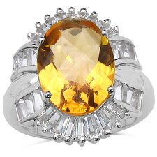 925 Sterling Silver Oval Cut Citrine Ring