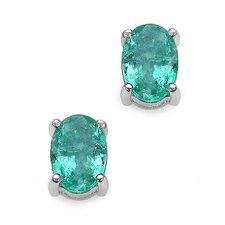 Oval Cut Zambian Emerald Stud Earrings