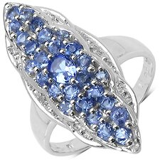 <strong>JewelzDirect</strong> 925 Sterling Silver Round Cut Tanzanite Ring