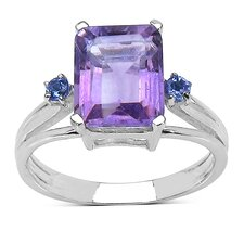 925 Sterling Silver Emerald Cut Amethyst Ring