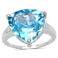 925 Sterling Silver Trillion Cut Topaz Ring