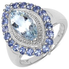 925 Sterling Silver Marquise Cut Aquamarine Halo Ring