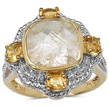 <strong>JewelzDirect</strong> 925 Sterling Silver Cushion Cut Golden Rutile Ring