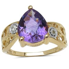 <strong>JewelzDirect</strong> 14K Gold Plated Pear Cut Amethyst Ring