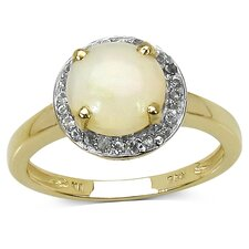 925 Sterling Silver Round Cut Ethiopian Opal Halo Ring