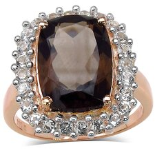 <strong>JewelzDirect</strong> Rose Gold Plated Emermald Cut Smoky Topaz Halo Ring
