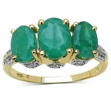14K Gold Plated Oval Cut Emerald Ring