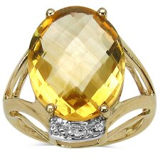 14K Gold Plated Oval Cut Citrine Ring