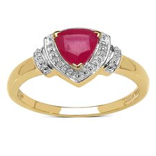 925 Sterling Silver Trillion Cut Ruby Halo Ring